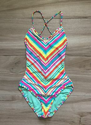 Roxy Candy Striped Halter One Piece Swimsuit Big Girl's Size 16 Teen EUC