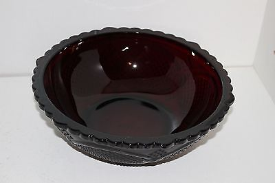 """Vintage Avon Ruby Red Cape Cod Glass 8.75"""" Round Vegetable Serving Bowl"""