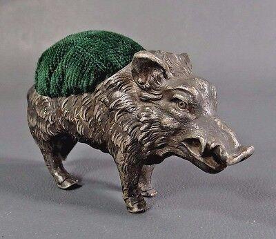 Antique Wmf Silver Plated Pewter Wild Boar Hog Pig Pincushion Pin Figurine