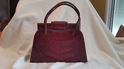 Vintage 1950s Deep Red Alligator or Crocodile Kelly Style Handbag