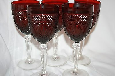DURAND CRYSTAL d'ARQUES FRANCE (5) RUBY RED CLEAR STEM WINE GLASSES 9 OZ