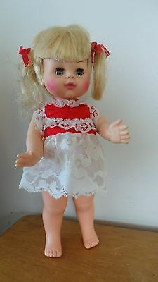 "12"" vintage 1969 horsman  blonde w/pigtails toddler . cute little doll !"