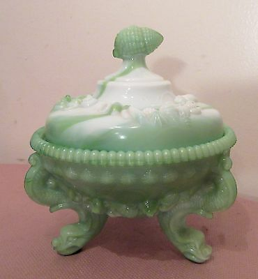 vintage ornate green slag glass figural shell candy centerpiece lidded jar bowl