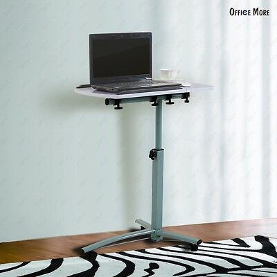 Rolling Laptop Table Stand Overbed Desk TV Food Tray Hospital Tilting Tabletop