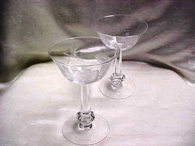 1950's Heisey Glass Dolly Madison Rose Etched Tall Sherbert Champagne Lot of 2