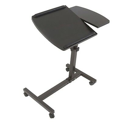 Adjustable Rolling Laptop Table Stand Overbed Desk Tilting TV Food Tray Hospital