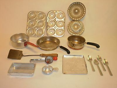 Vintage Set of 16 Antique Tin Childs Play Kitchen cookware! Great Set Very Rare!