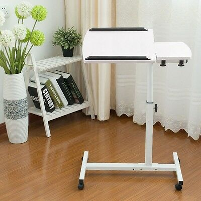 Rolling Laptop Table Tilting Tabletop TV Food Tray Hospital Stand Overbed Desk