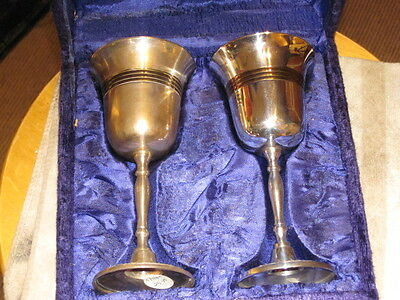 Silver Plated Brass Accents Kiddush 2 Cups in Velvet Presentation Case