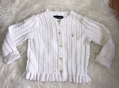 Ralph Lauren Cable Knit White Button Up Cardigan Cable Knit Cotton Girls Size 2T