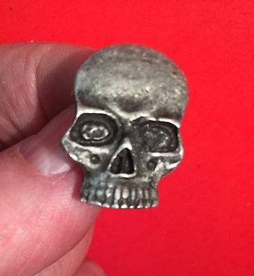 "Indian Motorcycle ""skull"" Pin ~ 1"" Solid Pewter ~ Pinch Clip Closure Ships Free!"