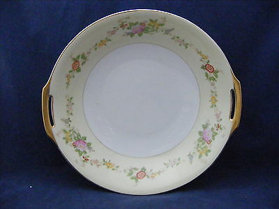 Vtg Meito Hand Painted  Serving Bowl  Cream Rim Multi-colored Flowers Gold