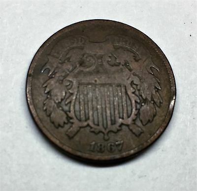 1867  U.s. Two Cent Piece, Vg