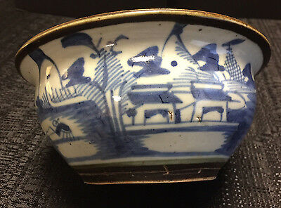 Antique Chinese Blue and White Porcelain Bowl Very Old Great Designs