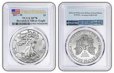 2017 W Pcgs Sp70 Burnished Silver Eagle Ms70 70 First Strike Flag