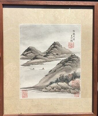 Antique Chinese original Watercolor painting of Mountains, Boats Water Signed