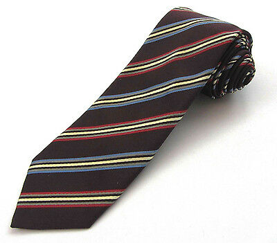 "New SANTOSTEFANO Brown Red Blue Striped Silk 3.25"" Skinny Neck Tie MSRP $195!"