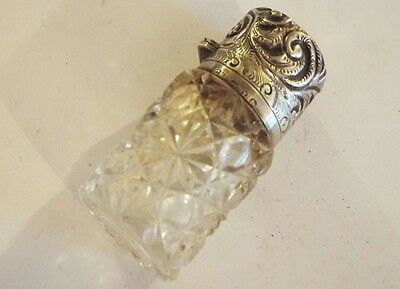 Victorian Antique Silver Top Glass Perfume Bottle