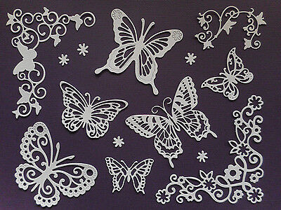 Butterflies & Flourish Paper Die Cuts Set Scrapbooking Embellishments #b