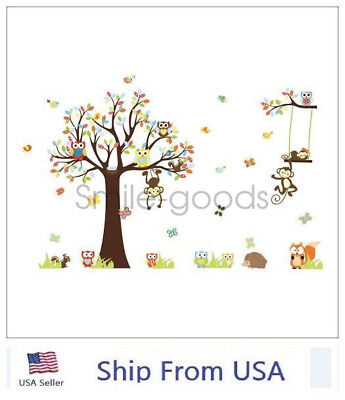 REMOVABLE TREE OWL Wall Decals Kids Bedroom Baby Nursery Stickers ...