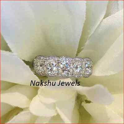 5CT Off White Moissanite Round 5 Stone Engagement Ring 925 Sterling Silver