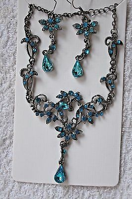 jewelry set crystal necklace match earrings silver tone turquoise set