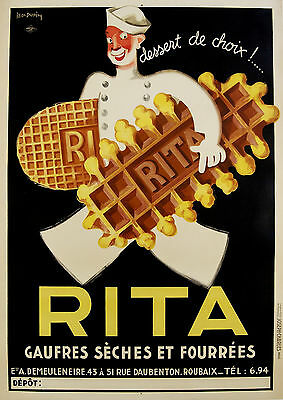 Paper Print Poster A4 Vintage Advert  Art deco Rita Waffles for Glass Frame