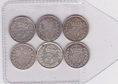 Six Silver Three Pence Coins Dated 1882 To 1900 In Good Fine Condition