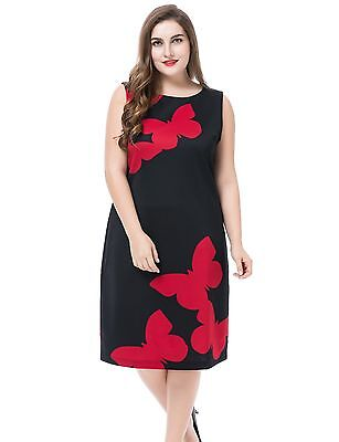Chicwe Women's Sleeveless Plus Size Butterfly Printed Dress 18, Black/Red