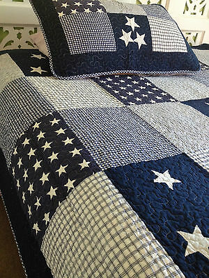 Linens n Things Lachlan Navy Boys Single Bed Bedspread  / Coverlet Set