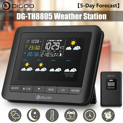 Digoo【5-Day Forecast】LCD Wireless Weather Station Alarm Clock Moon Phase +Sensor