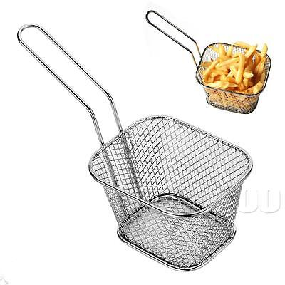 Stainless Steel Mini Chip Baskets Fryer Serving Food Presentation Basket Kitchen