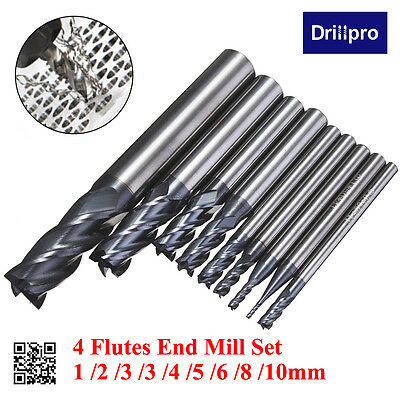 Drillpro 4 Flutes Tungsten Carbide CNC End Mill Cutter Drill Bit Set 1mm-10mm UK