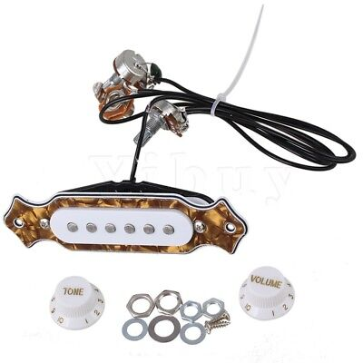 Yibuy Acoustic Guitar 6-String Single Coil Pickup Bronze