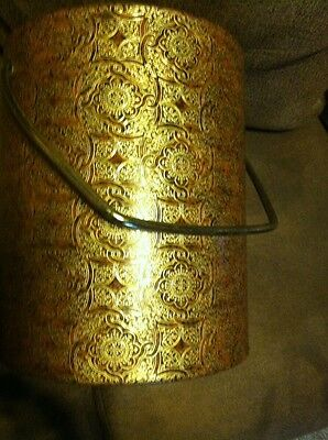 Vintage / Retro Ice Bucket... Faux Leather/ Gold Cover... NICE