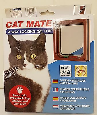 Cat Mate Lockable Pet Cat Door Flap Brown 309B