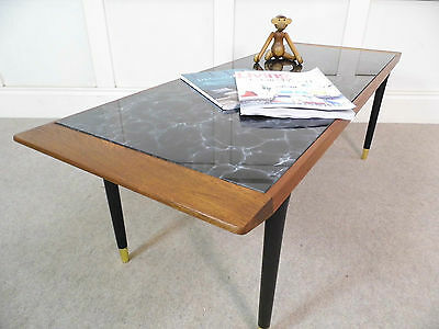 Stylish Vintage Retro Italian marbled Glass Teak Dansette legs coffee table 50s