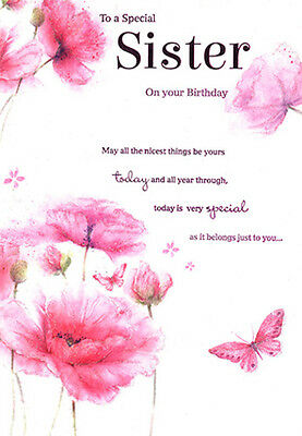 Sister Birthday Card Pink Floral Design Quality With A Nice Verse Icg