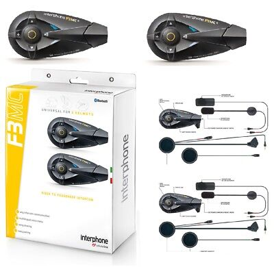 Interfono Casco Bluetooth Interphone F3Mc Kit Doppio Cellular Line