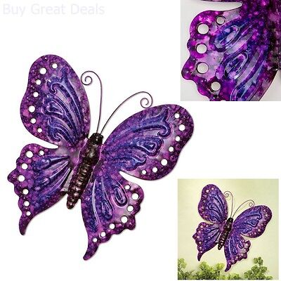 Vintage Look Metal Art Purple Erfly Wall Hanging Home Decor Sculpture 13