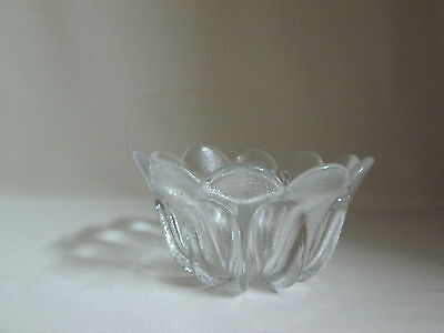 Crystal Clear Glass Pedal Design Candy Nut Dish Thick Glass