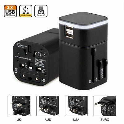 World Travel Adapter USB Charger All in One Safety Universal Wall Plug Converter