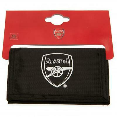 Arsenal FC Official Crested Black Nylon Wallet With Multiple Slots The Gunners