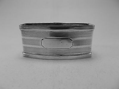 Good Sterling Silver Napkin Ring (316a) - Rectangular bowed - Not Engraved