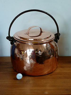 Large 19th century copper stock pot & Lid Dovetail seams
