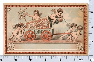 Hauthaway and Sons Boot and Shoe Polish | Victorian Trade Card | Cherubs Angels
