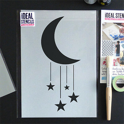 Moon Stars Nursery Stencil Home Decorating Paint Wall Fabric Furniture Reusable
