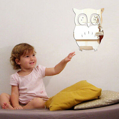 3D Owl Mirror Vinyl Removable Wall Sticker Decal Home Decor Art Silver*