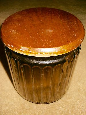 Vintage Smokey Ribbed Glass Aztec Pipe Tobacco Holder Humidor With Wood Lid