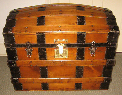 Antique Steamer Trunk Vintage Victorian Dome Top Wooden Brides Style Chest C1880